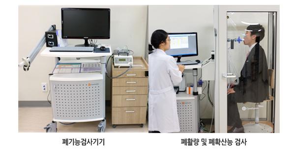 폐기능검사기기, 폐활량 및 폐확산능 검사 사진